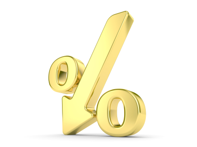 gold metal percentage symbol with an arrow down