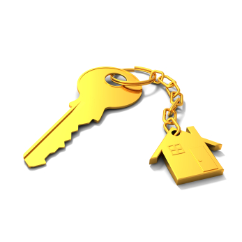 3D render of a shiny golden key and house on keychain